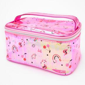 Unicorn Icon Transparent Makeup Bag - Pink,