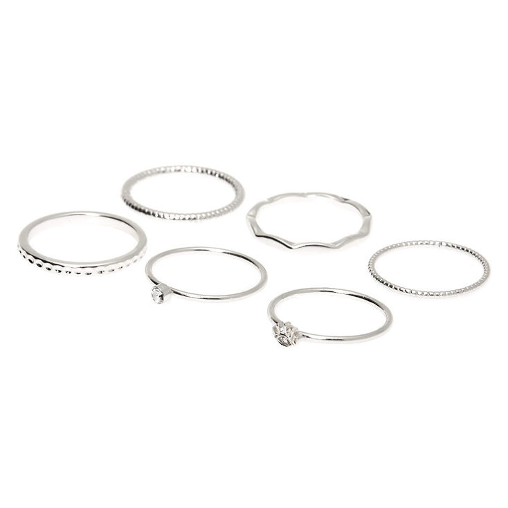 Silver Textured Rings - 6 Pack,