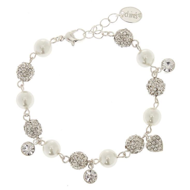 Simulated Pearl & Fireball Chain Bracelet,
