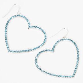 """Silver 2"""" Crystal Open Heart Drop Earrings - Blue,"""