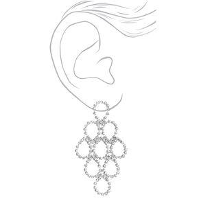 """Silver 2.5"""" Rhinestone Loop Chandelier Drop Earrings,"""