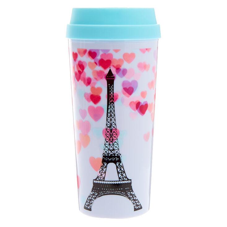 Paris Hearts Travel Mug - White,