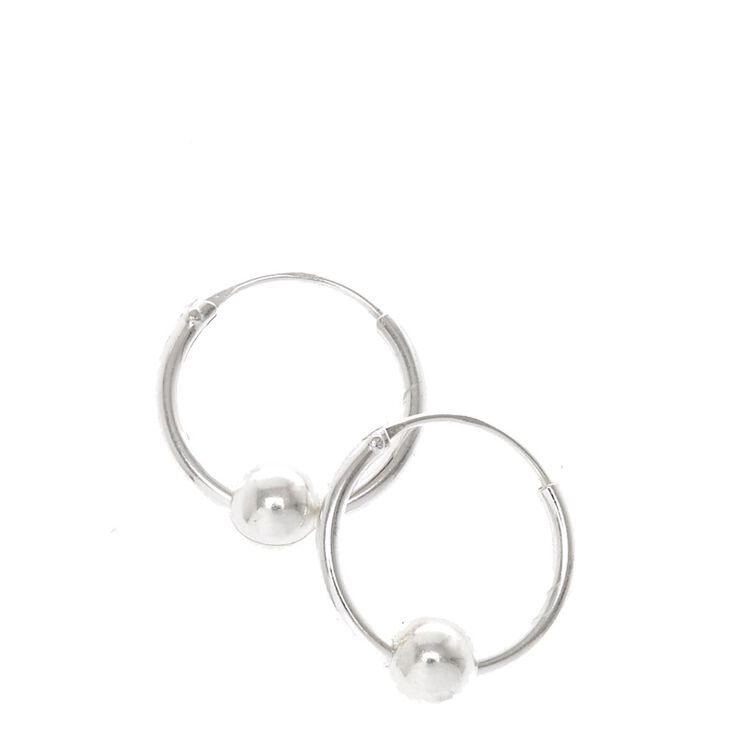 Sterling Silver Ball Hoop Earrings