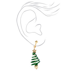 Christmas Tree Spiral Clip on Drop Earrings,