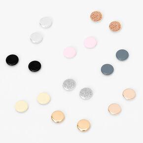 Clous d'oreilles aimantés ronds pastel en métaux mixtes - Lot de 6,