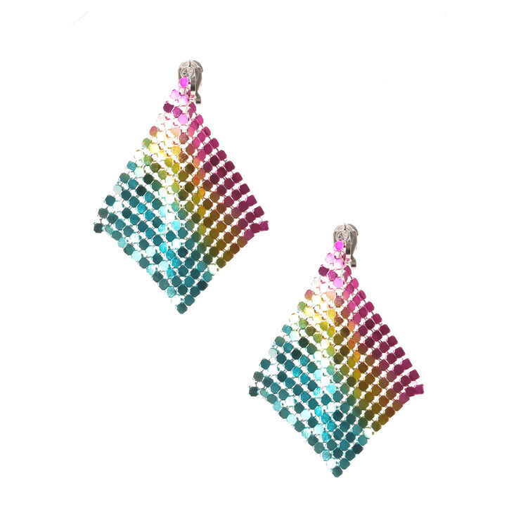 Rainbow Mesh Clip On Drop Earrings,