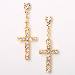 "Gold 1"" Embellished Cross Drop Earrings,"