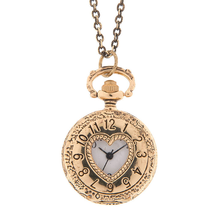 Antique gold cut out heart pocket watch locket pendant necklace antique gold cut out heart pocket watch locket pendant necklace aloadofball Images