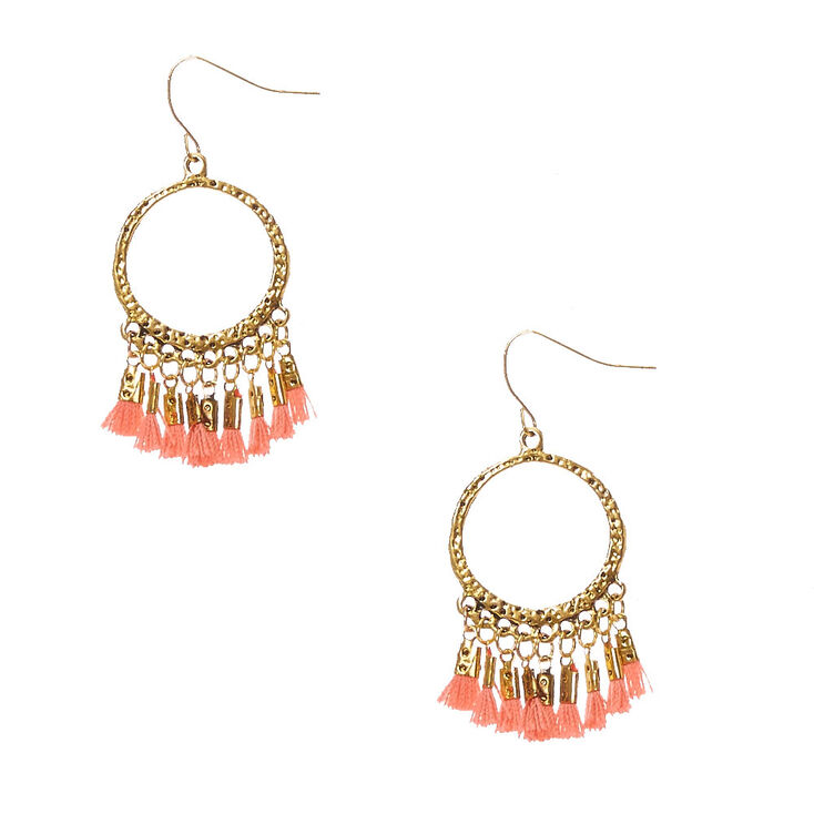 fbc71188b Gold-tone Open Circle and Coral Tassel Fringe Drop Earrings | Claire's