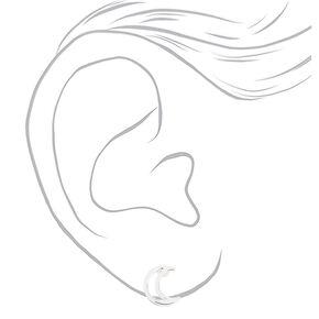 Silver Open Moon Stud Earrings,