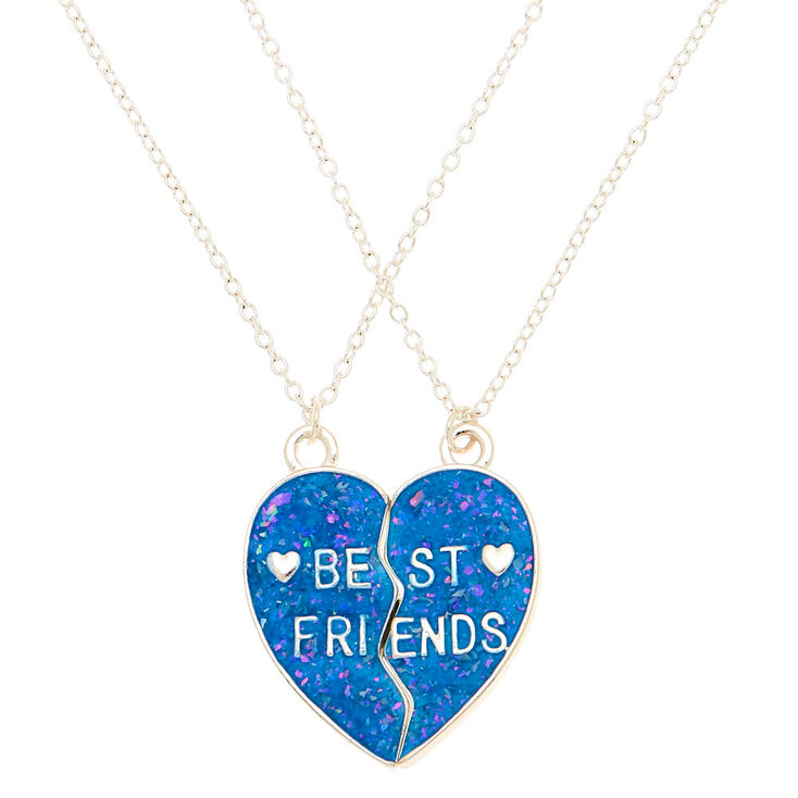 Best Friends Glow In The Dark Heart Pendant Necklaces - Blue, 2 Pack,
