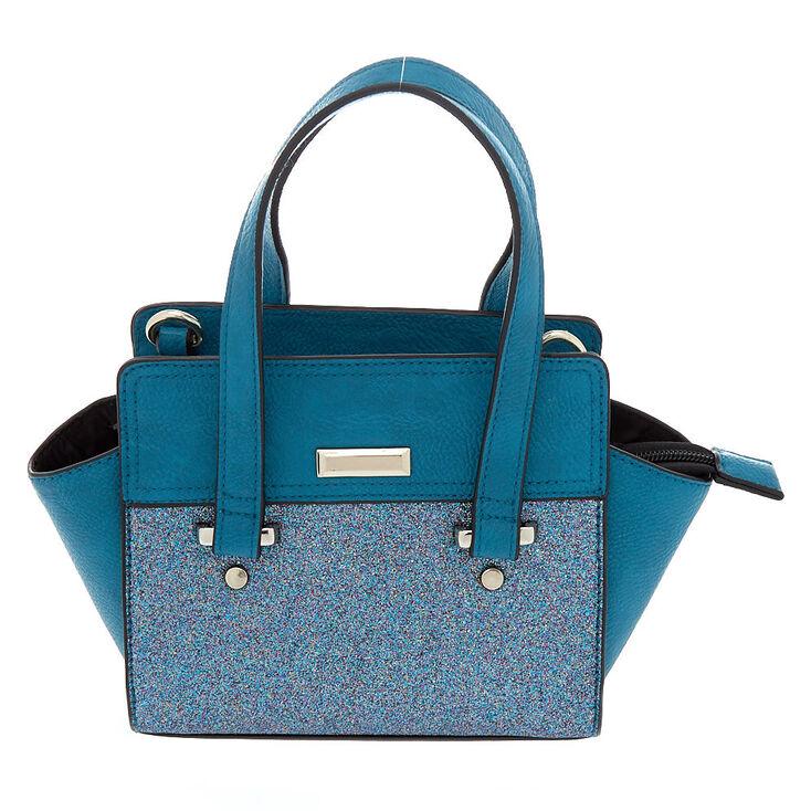 75b6f4f461 Glitter Mini Satchel Crossbody Bag - Teal   Claire's US