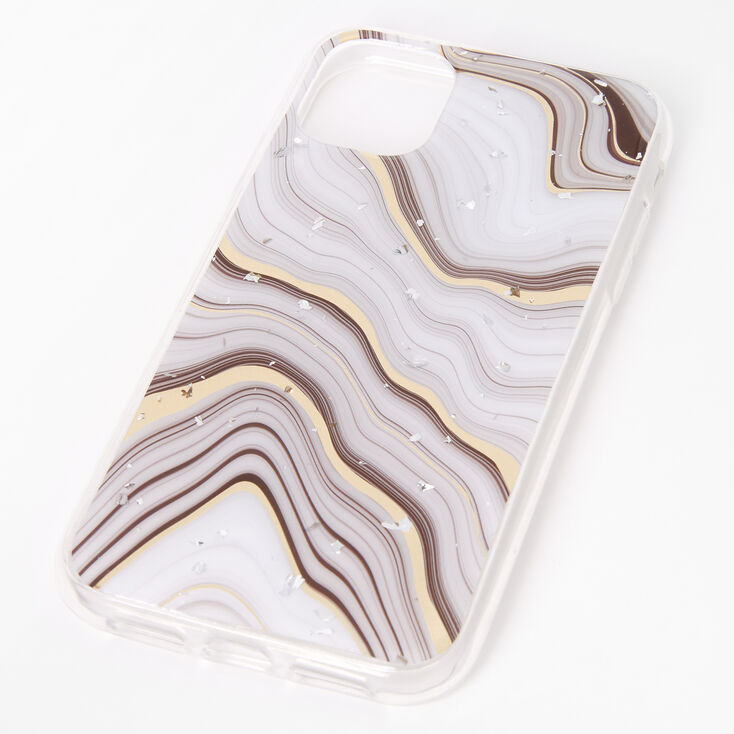 Gold Marble Silver Flake Protective Phone Case - Fits iPhone 11,