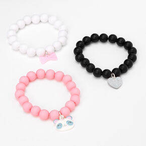 Claire's Club Panda Matte Beaded Stretch Bracelets - 3 Pack,