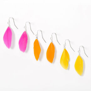 "Silver 1.5"" Bright Feather Drop Earrings - 3 Pack,"