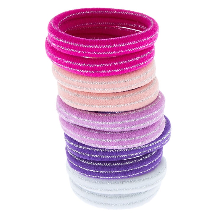 Claire's Club Glitter Striped Hair Bobbles - 10 Pack,