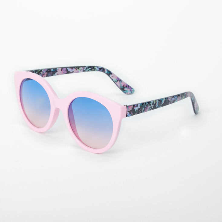 Floral Rounded Mod Sunglasses - Black,