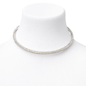 Rhinestone Pave Choker Necklace - Silver,