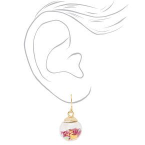 """Gold 1"""" Celestial Confetti Shaker Drop Earrings - Purple,"""