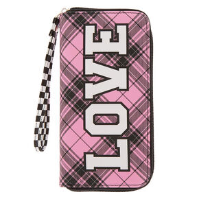 Love Plaid & Checkered Wristlet - Pink,