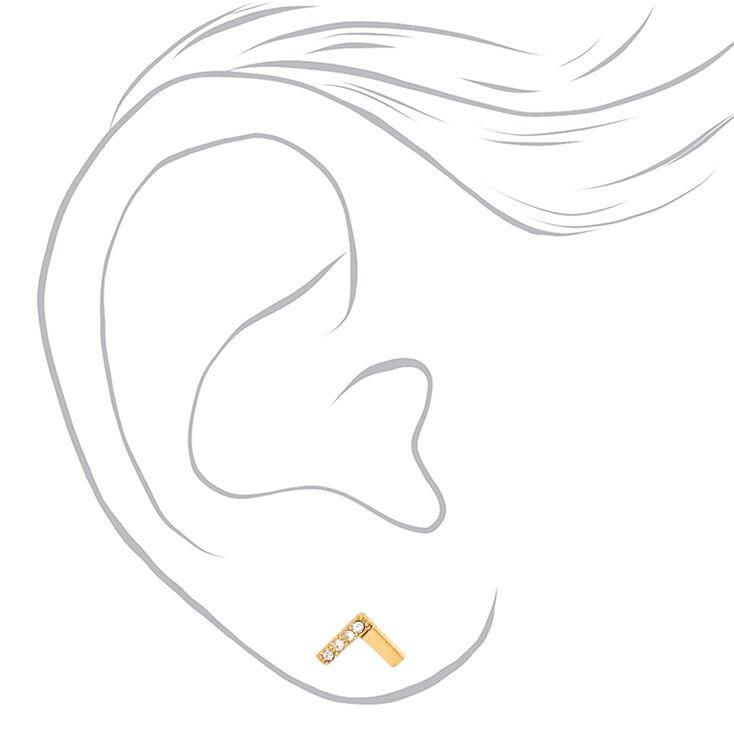 Clous d'oreilles à chevrons en titane couleur dorée avec strass,