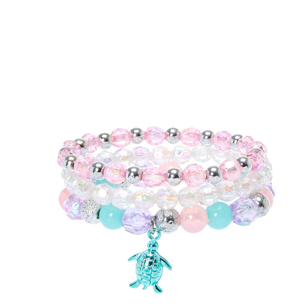 Set of 3 Sea Turtle Pink Sparkle Crystal Charm Beads