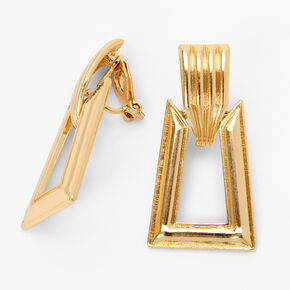 """Gold 1.5"""" Textured Rectangle Clip On Drop Earrings,"""