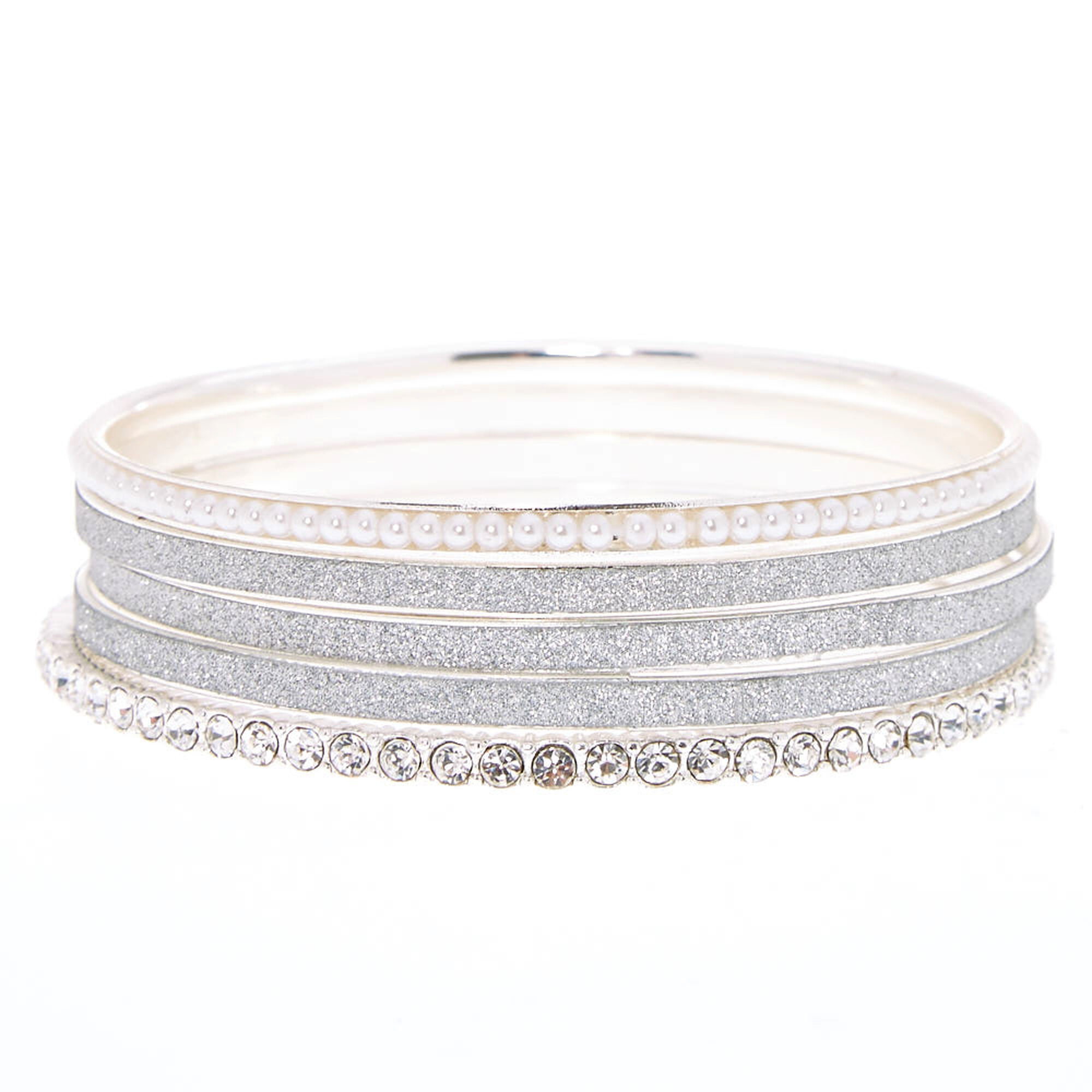 Silver Glitter Pearl Mixed Bangle
