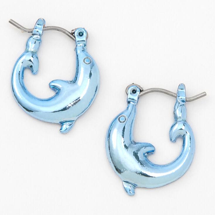 Blue 12MM Dolphin Hoop Earrings,