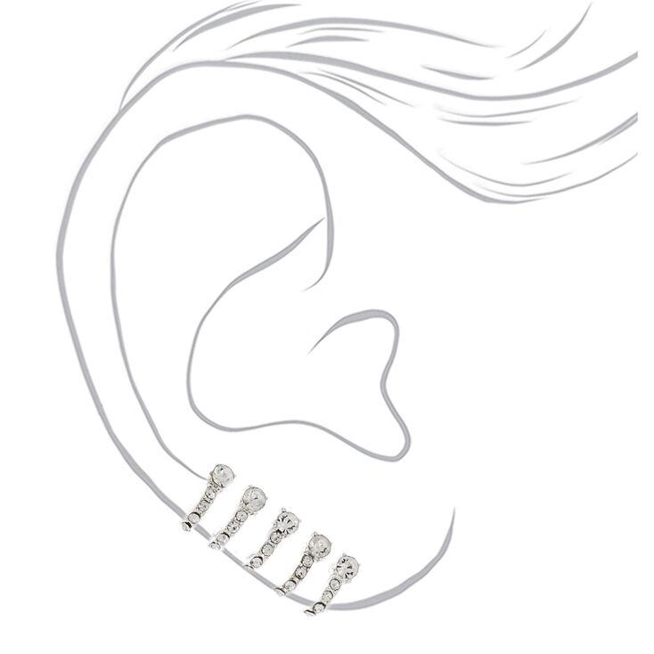 Bijoux d'oreille façon créole avec strass de 2,5cm couleur argenté,