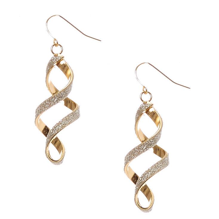 Gold Toned Glitter Spiral Drop Earrings,