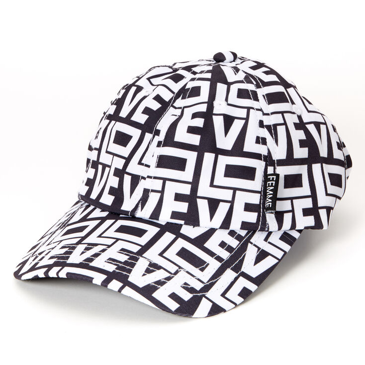 Love Block Letters Baseball Cap - Black,