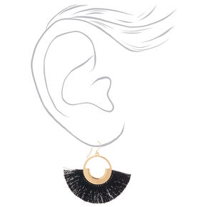 "Gold 2"" Fan Tassel Drop Earrings - Black,"