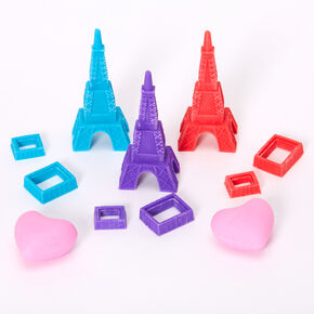 Eiffel Tower & Heart Erasers - 5 Pack,