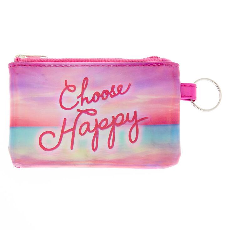 Porte-monnaie «Choose Happy» rose métallisé,