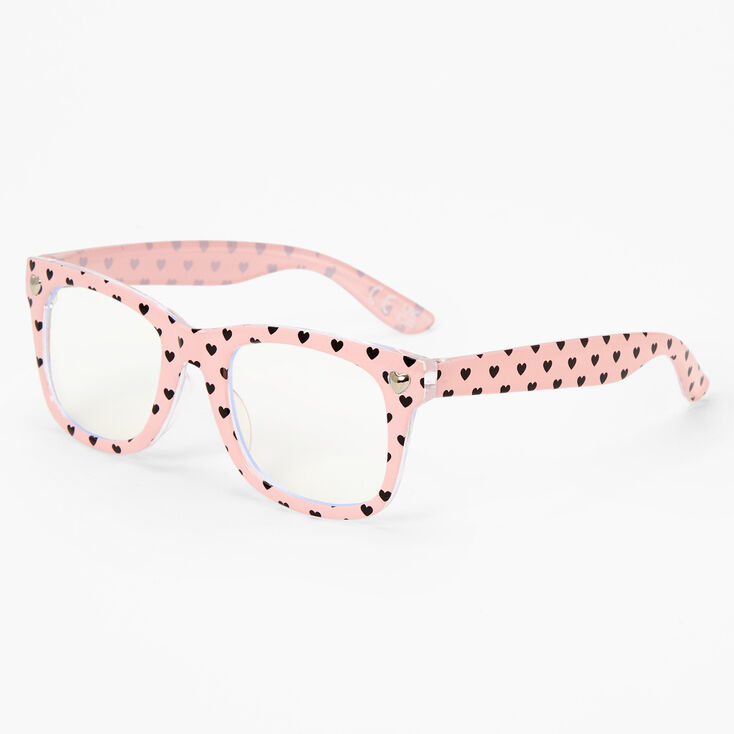 Claire's Club Edgy Hearts Clear Lens Frames - Pink,