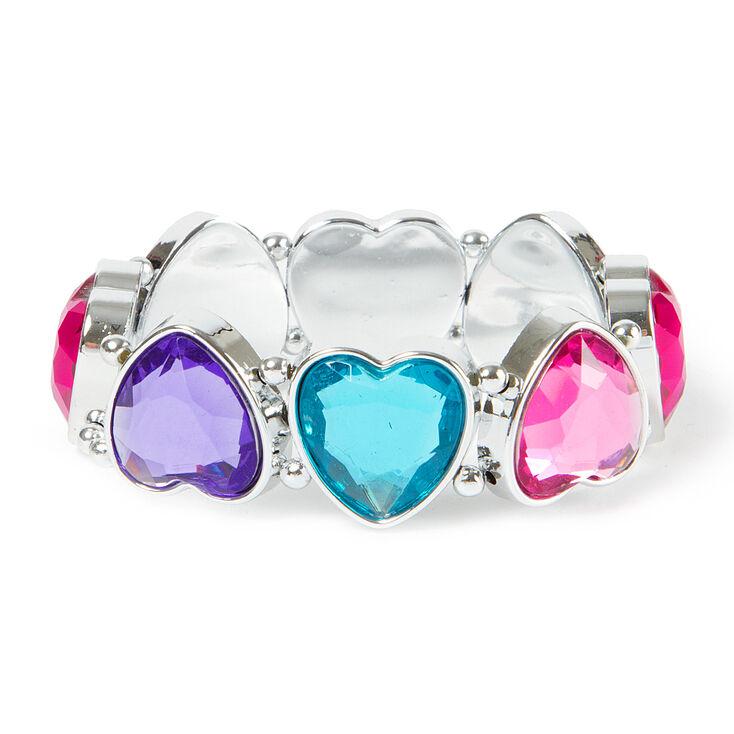 Claire's Club Gem Heart Stretch Bracelet,