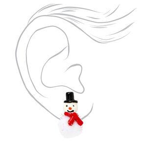 Snowman Pom Pom Stud Earrings,