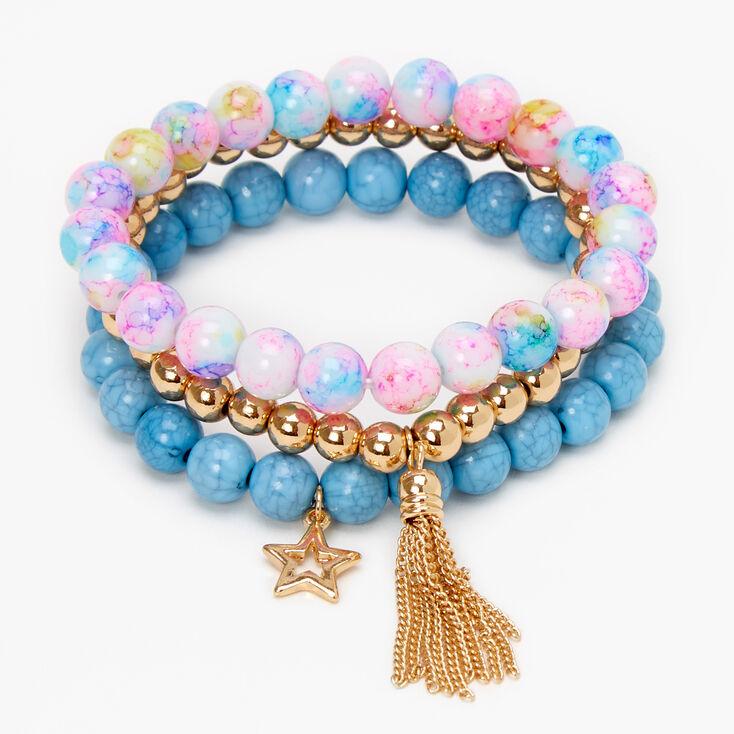 Star Rainbow Marble Beaded Stretch Bracelets - Bue, 3 Pack,