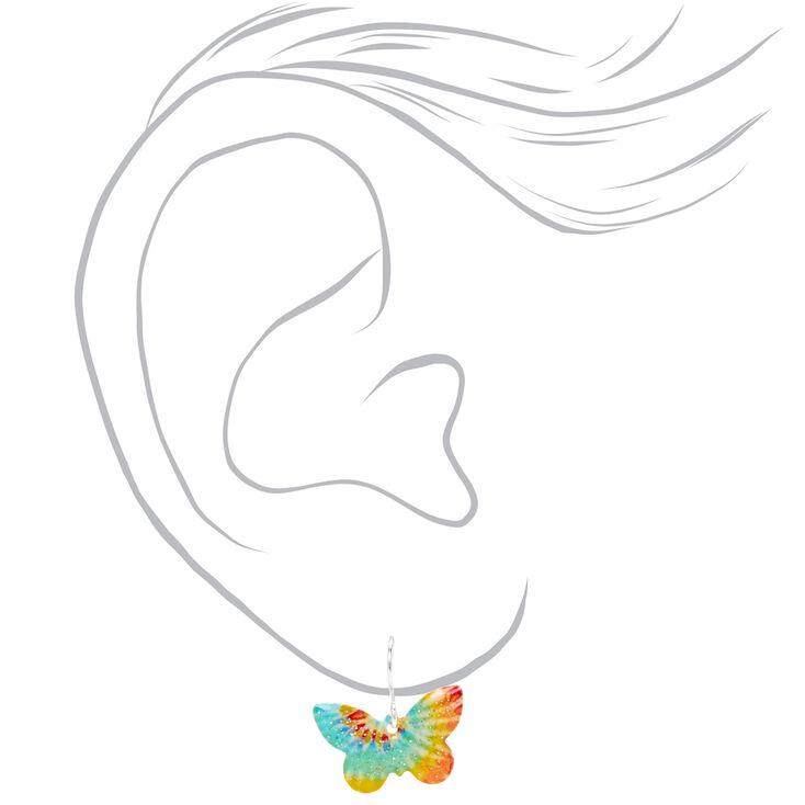 """Silver 0.5"""" Tie Dye Butterfly Drop Earrings,"""