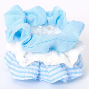 Claire's Club Small Striped Hair Scrunchies - Blue, 3 Pack,