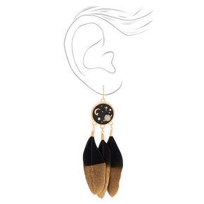 Pendantes célestes avec plumes trempées 9cm couleur dorée - Noir,