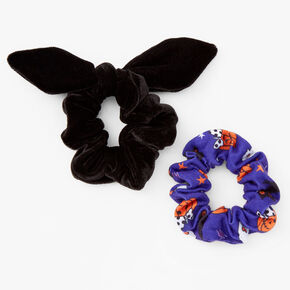 Small Halloween Print Knotted Bow Hair Scrunchies - 2 Pack,