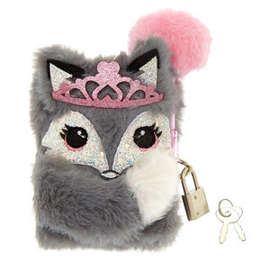 Claire's Club Fox Plush Lock Notebook - Grey,