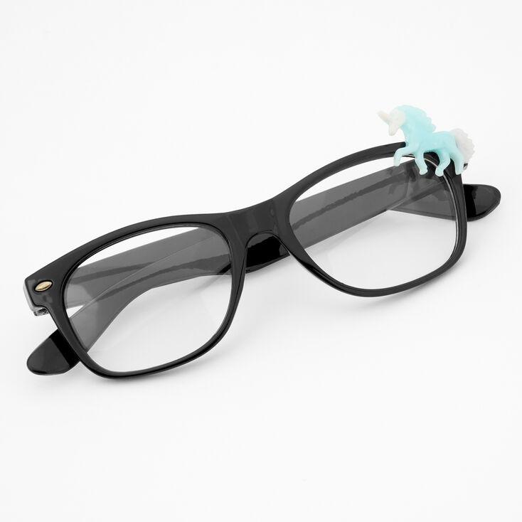 Claire's Club Unicorn Rectangle Clear Lens Frames - Blue,