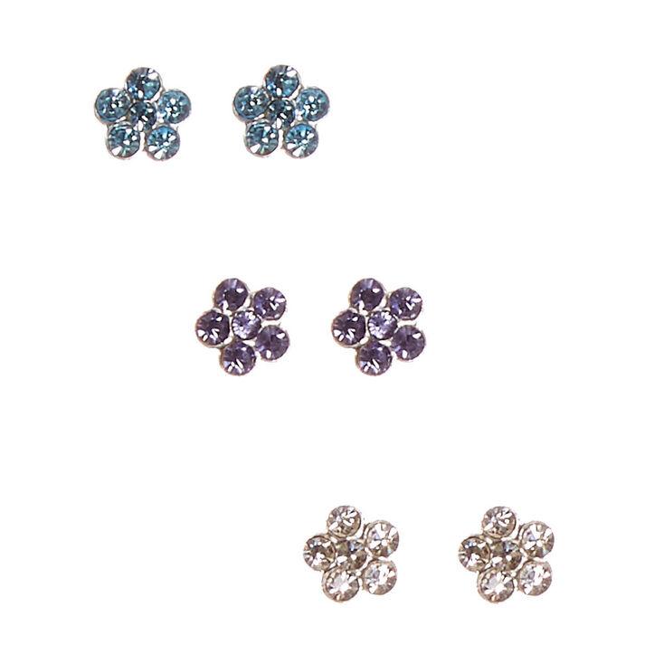 Sterling Silver Flower Earring Set,