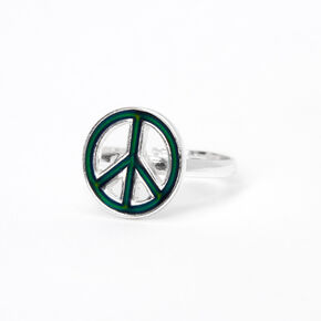 Silver Peace Sign Mood Ring,