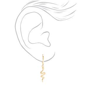 Gold 10MM Snake Huggie Hoop Earrings,