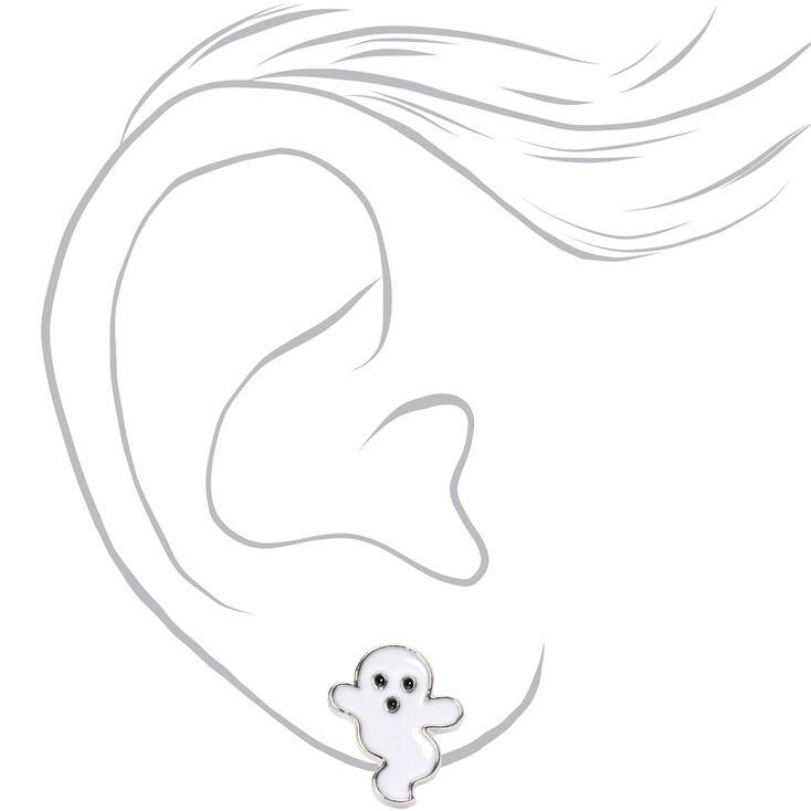 Silver Ghost Stud Earrings - White,