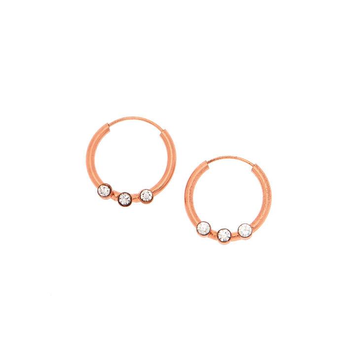18kt Rose Gold Plated 12MM Embellished Hoop Earrings,